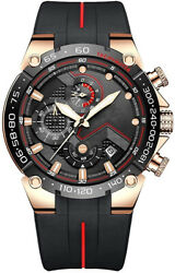 Mens Chronograph Watch Outdoor Waterproof Military Tactical Style Quart Golden