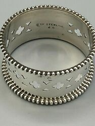 Sterling Silver Napkin Ring .75 Wide Band Pierced 48