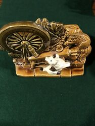 Vintage Mccoy Pottery Planter Spinning Wheel Curious Terrier Dog And Sassy Cat