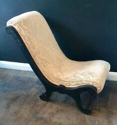Victorian Ebonised And039xand039 Frame Nursing Chair With Cream Jacquard Upholstery