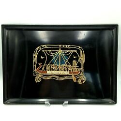 Vintage Couroc Egyptian Barge Boat Tray Inlaid Design Monterey Ca Mcm