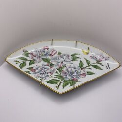 Vtg Kyoto Imperial Porcelain Fan-shaped Plates 4 Blossoms Of Japanese Year And03982