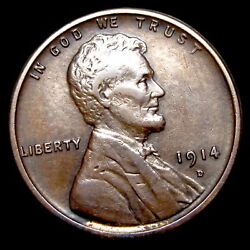 1914-d Lincoln Cent Wheat Penny ---- Nice Key Date Coin ---- T632