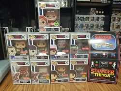 Stranger Things 8-bit Funko Pops - Set Of 9 With Target Arcade Box Will Chase