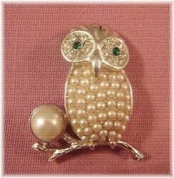 Vintage Sarah Coventry Antique Fake Pearl Owl Brooch Used From Japan A