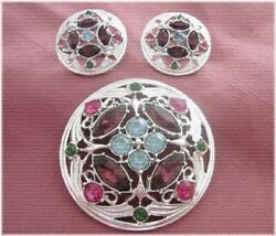 Vintage Sarah Coventry Antique Rhinestone Brooch And Earrings From Japan A