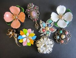 Vintage Sarah Coventry Antique Set Of 8 Flower Brooches Used From Japan A