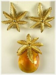Vintage Sarah Coventry Antique Amber Glass Pineapple Brooch And Earrings A