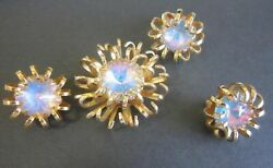 Vintage Sarah Coventry Antique Crystal Rhinestone 3 Set Brooch Earrings Ring A