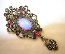 Vintage Sarah Coventry Antique Pink Moonstone Dangle Brooch Contessa Japan A