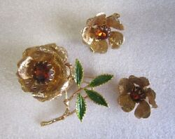 Vintage Sarah Coventry Antique Gold Flower Brooch And Earrings Ember Flower A