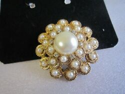 Vintage Sarah Coventry Antique Domed Fake Pearl Brooch Moonlight Boxed Japan A