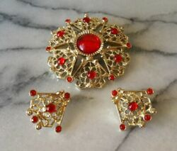 Vintage Sarah Coventry Antique Ruby Rhinestone Brooch And Earrings Serenade A