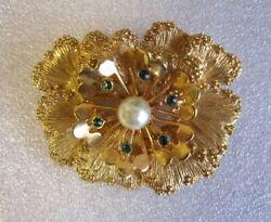 Vintage Sarah Coventry Antique Gold Flower Brooch Used From Japan A