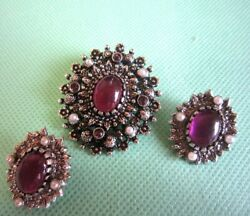 Vintage Sarah Coventry Antique Purple Stone Brooch And Earrings From Japan A