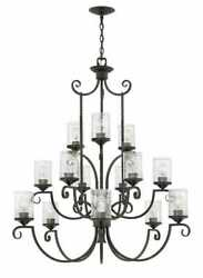 Hinkley Casa 15-light Three Tier In Olde Black With Clear Seedy Glass