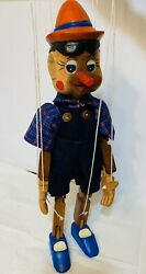 """Vintage Carved Wooden Marionette Puppet Pinocchio 16.5"""""""