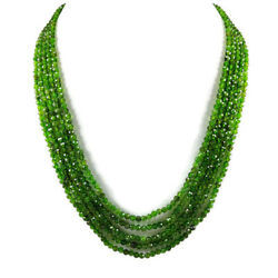 Chrome Diopside 3 Mm Round Micro Faceted Beads Gemstone Necklace 5 Strand Us176