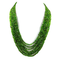 Chrome Diopside 3 Mm Round Micro Faceted Beads Gemstone Necklace 7 Strand Us177