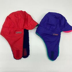 Vintage Lot Of 2 Columbia Ultrex Trapper Hats Men's S/m Red Blue Fleece Lined