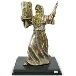 """Ben Zion Sterling Silver Sculpture Of Moses 16 1/2"""""""