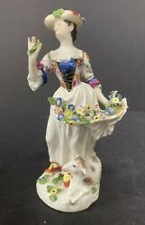 7 Antique Meissen Figurine Of Woman And Sheep 1740