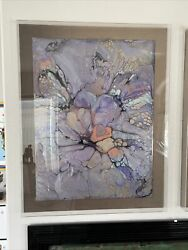 R Mann Signed Large Pair Abstract Oils In Acrylic Frames