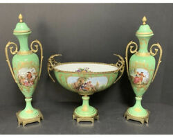 Vintage French Green Porcelain Centerpiece Bowl With Pair Of Garniture Urns
