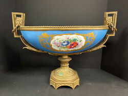 Sevres French Blue And Gold Porcelain Centerpiece Bowl 20.5 Wide