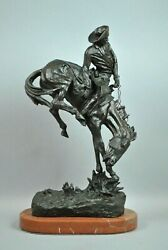 Beautiful Early Edition Remington Bronze 22 Cowboy On Horse