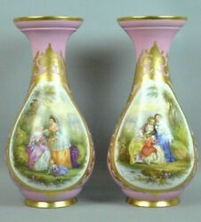 """Large Pair Antique 19th Century Hand Painted Continental Porcelain Vases 19"""""""