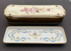 """Antique Limoges Porcelain Pen Tray And Box Shirley Temple Estate 10"""" X 3"""""""