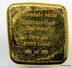 Scottsdale Mint 1oz .9999 Gold Button Bar W/ 2nd 2020covid Wave Coa 86 Of 999