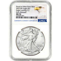 2021 W American Silver Eagle Type 2 - Ngc Ms70 Early Releases Grade 70 Label
