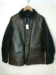 Nigel Cabourn Canadian Work Leather Jacket Brown Size 48 Used From Japan