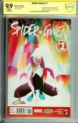 Spider-gwen 1 Cbcs 9.9 White Pages // Signed Stan Lee + Latour 9.9 Mint