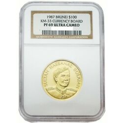 Brunei 1987 Currency Board 100 Gold Proof Coin Ngc Pf68 Ultra Cameo Sku 87