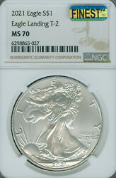 2021 Silver Eagle S1 Ngc And Mac Ms70 T-2 Mac Finest Spotless Mm