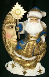 Wow Blue And Gold Hand Carved And Painted Santa Claus Sitting On The Moon 1816