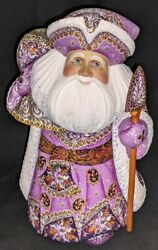 Russian Santa Claus W/lavender And Gold Floral Cloak 2897 Handpainted Wood Statue