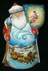 Russian Santa Claus - Handpainted Traditional Troika W/ Red Bullfinches 2394