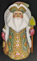 Russian Santa Claus W/green And Gold Floral Cloak 2934 Handpainted Wood Statue