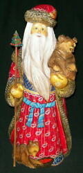 Very Tall Handpainted Bright Red, Blue And Gold Santa W/ Sweet Russian Bears 7227