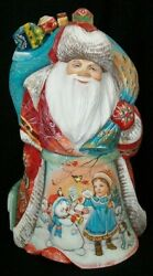 Wonderful Russian Handpainted Santa Claus W/toys - Children And Dogs Playing 7970