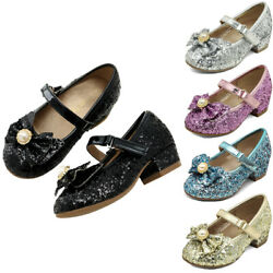 Girls Childrens Kids Mary Jane Glitter Party Wedding Princess Sandals Shoes Size