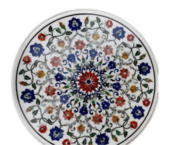 White Marble Coffee Table Marquetry Lapis Carnelian Mosaic Floral Inlay Art W084