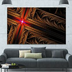 Designart And039golden Fractal Cross Designand039 Large Glossy Canvas Small