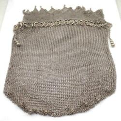 Vintage Antique Sterling Silver Chainmail Coin Bag Purse