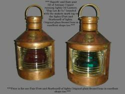 Antique Hop Lee And Co Copper Pair Of Nautical Oil Lanterns Port And Starboard 14