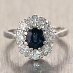 1930's Antique Art Deco 18k White Gold 1.50ctw Diamond And Sapphire Cocktail Ring